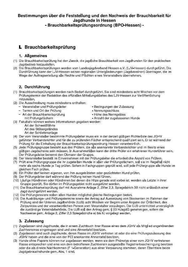PDF-Vorschau_Brauchbarkeit für Jagdhunde in Hessen - Prüfungsordnung (BPO-Hessen)